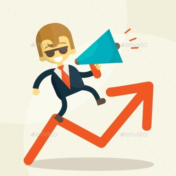 Businessman Public Speaking on a Megaphone - Business Conceptual