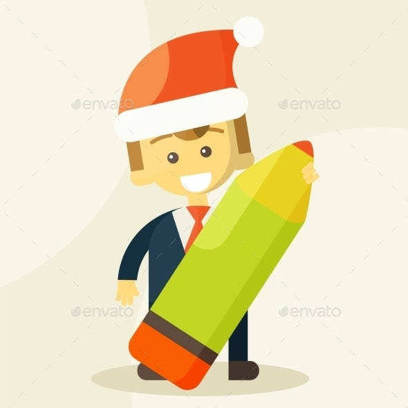 Businessman Holding a Pencil and Christmas Hat - Concepts Business