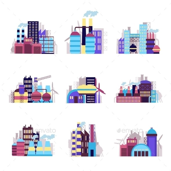 Industrial Building Icons Set - Industries Business