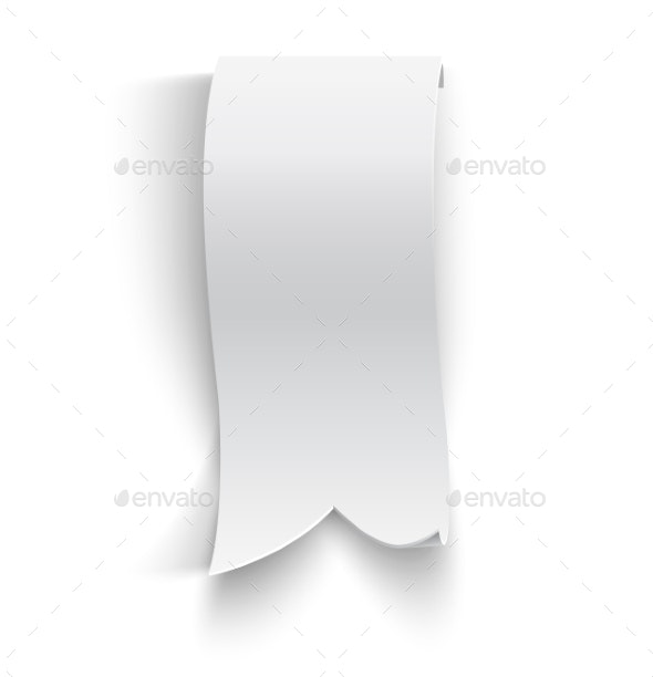 Realistic Detailed Curved Paper Banner - Objects Vectors