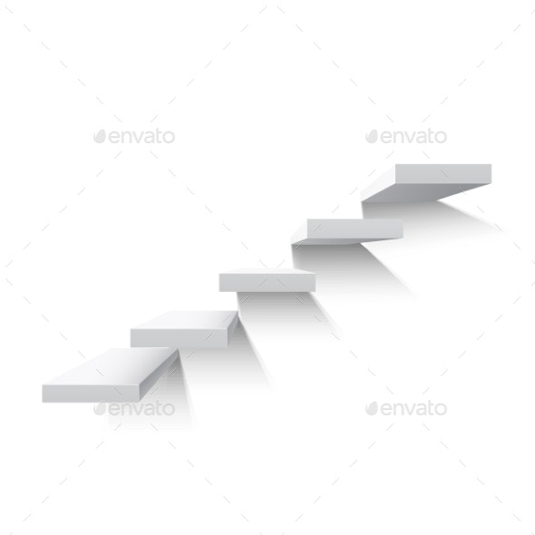 Stairs Isolated on White Background - Objects Vectors