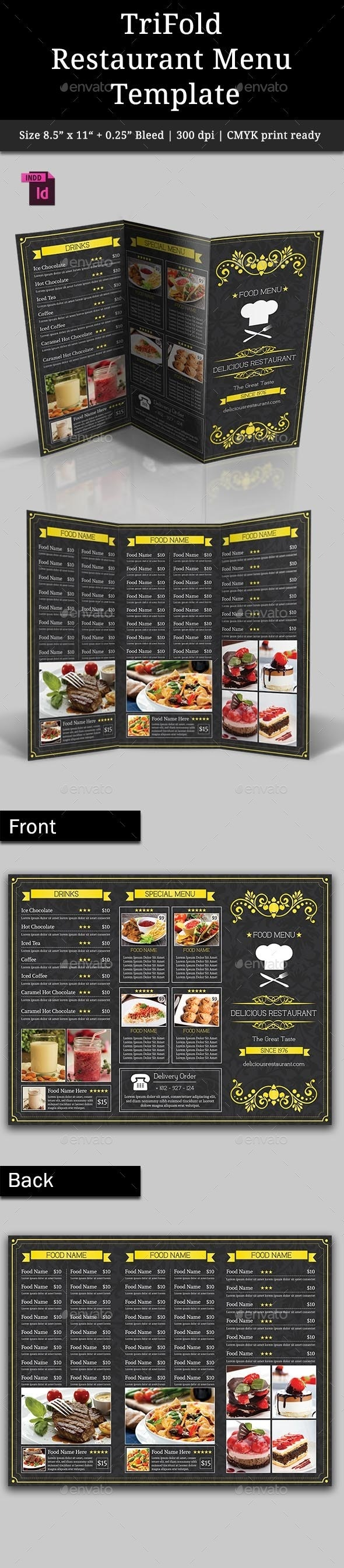 TriFold Restaurant Menu Template Vol. 3 - Food Menus Print Templates