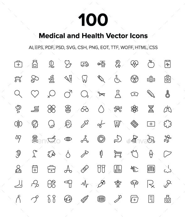 Medical and Health Vector Icons Pack - Icons