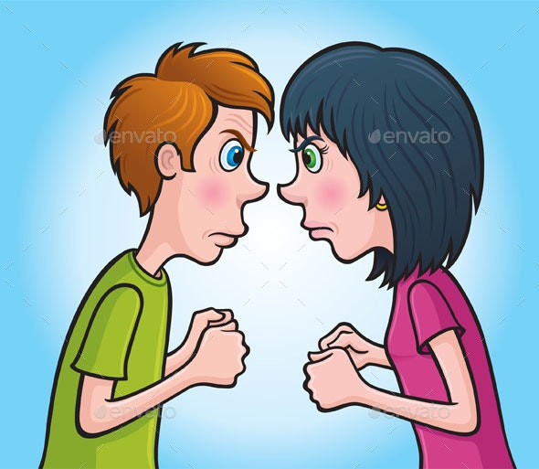 Angry Teen Boy and Girl  - People Characters