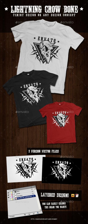 Lightning Crow Bone - T-Shirts