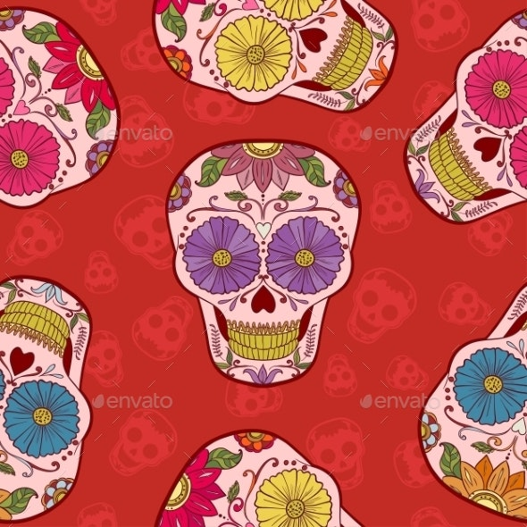 Mexican Skull Seamless Pattern - Patterns Decorative