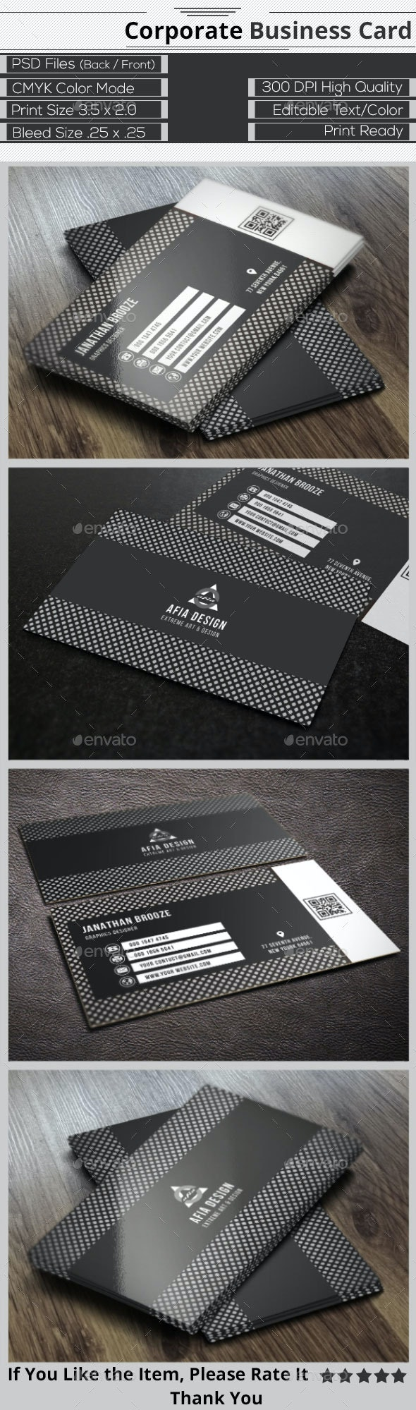 Black & White Corporate Business Card - Corporate Business Cards