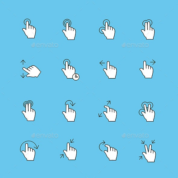 Touch Gestures Icons - Web Technology