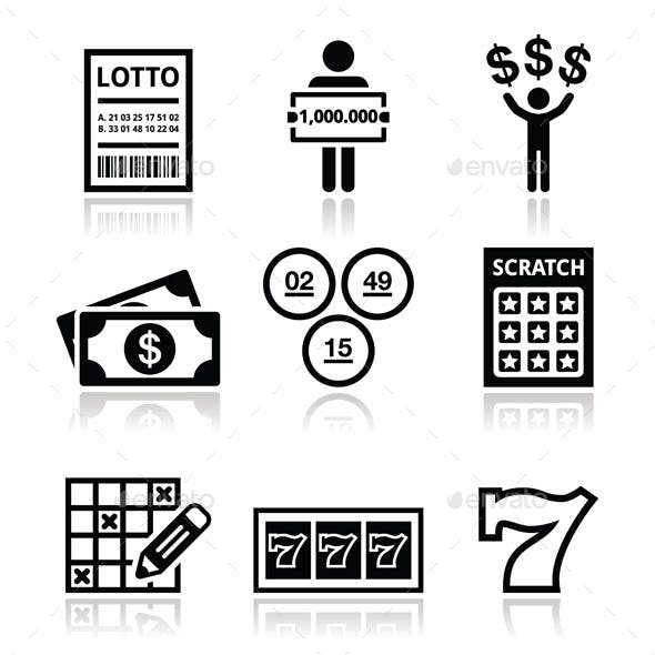 Winning Money on Lottery, Slot Machine Icons Set