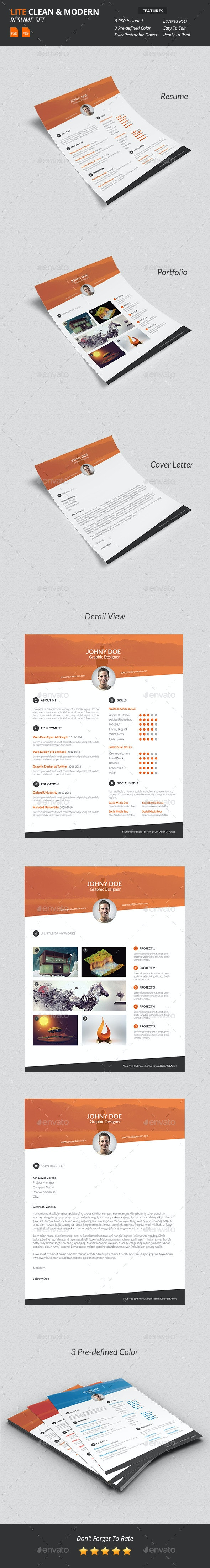 Lite - Clean & Modern Resume Template - Resumes Stationery