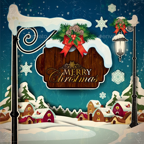 Merry Christmas with Snowy Landscape - Christmas Seasons/Holidays