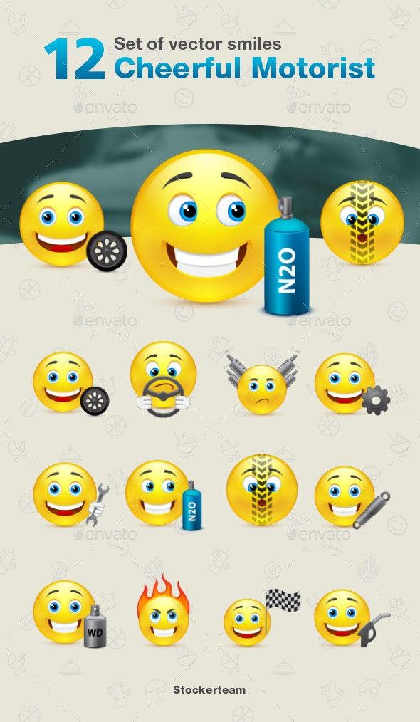 Set of 12 Cheerful Motorist Smiles - Characters Vectors