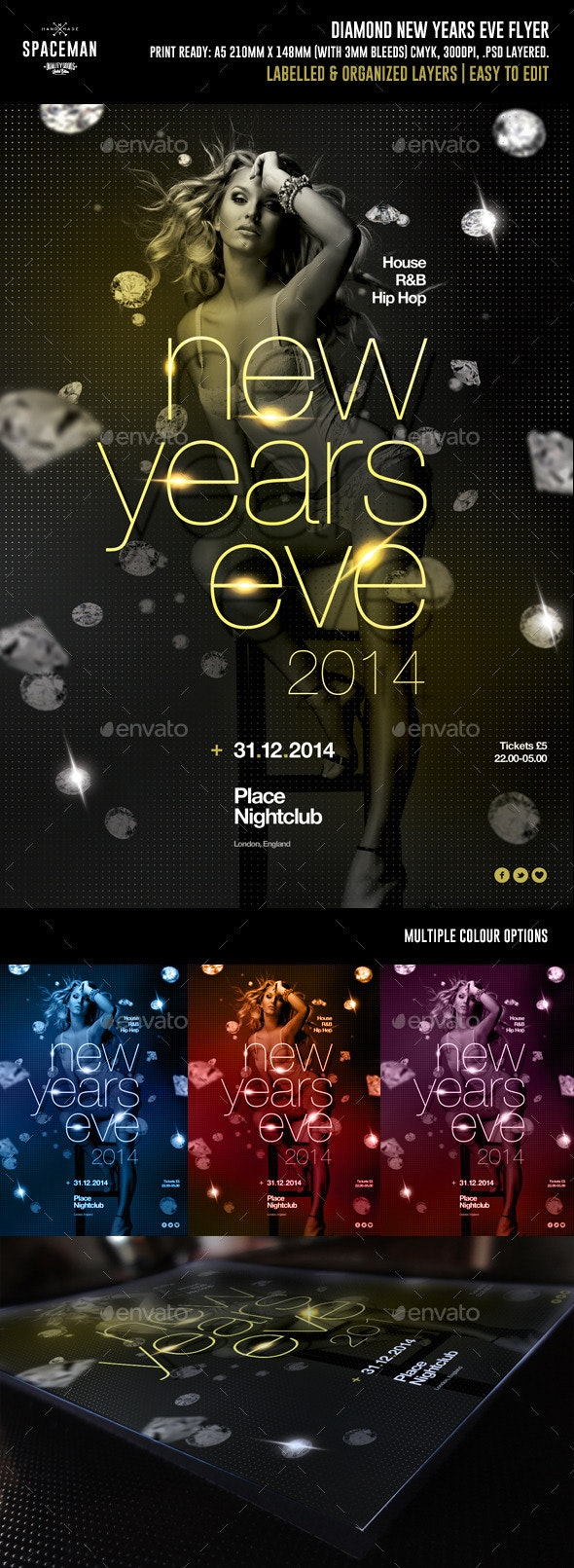 Diamond New Years Eve Flyer - Clubs & Parties Events
