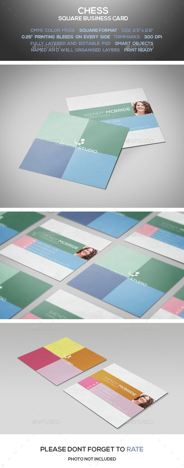Chess - Square Business Card - Corporate Business Cards