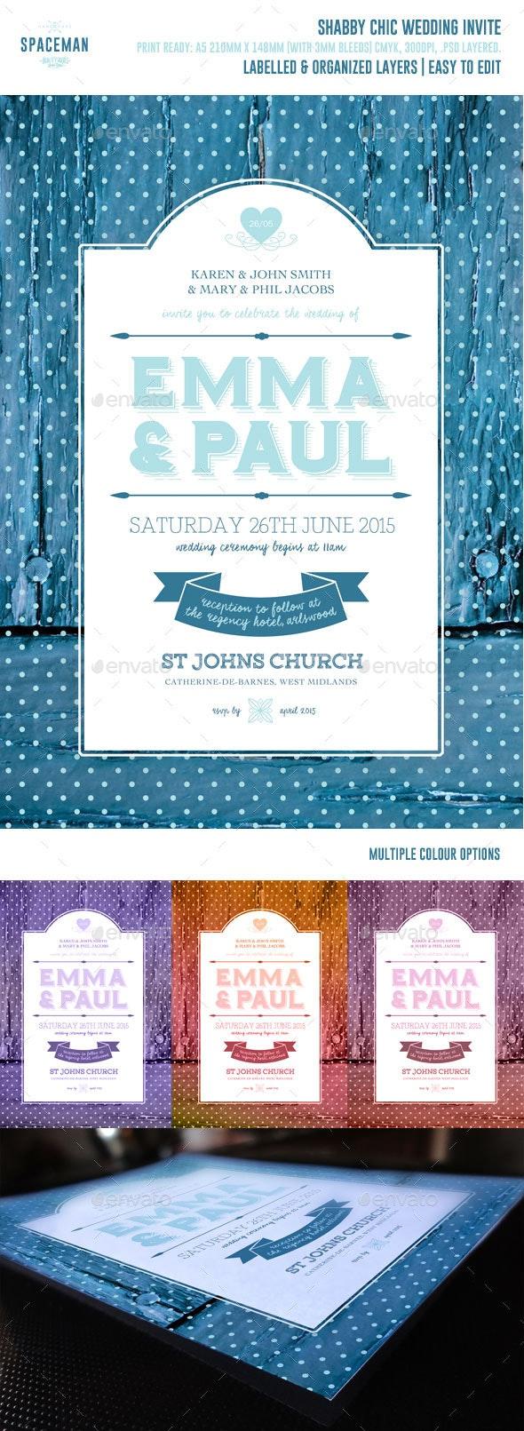 Shabby Chic Wedding Invite - Weddings Cards & Invites