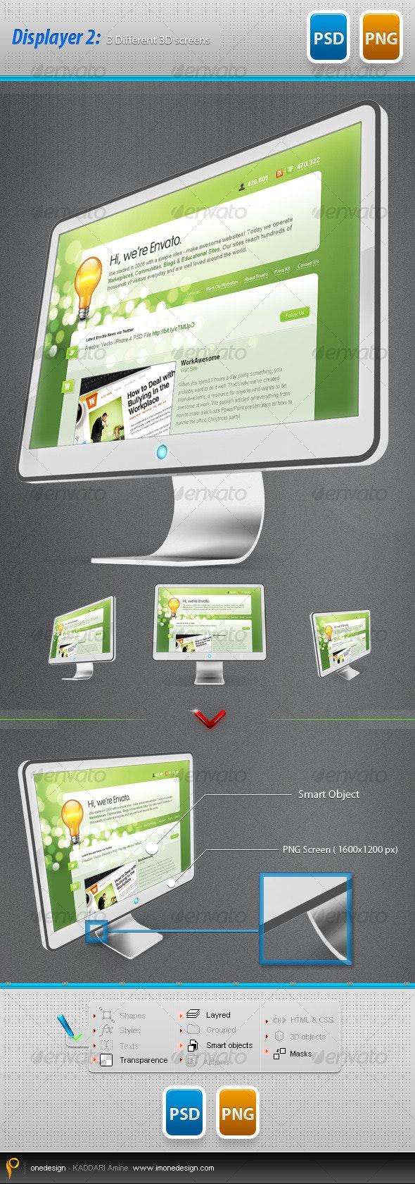 Displayer v.2: 3 Diffrent 3D Screens - Monitors Displays