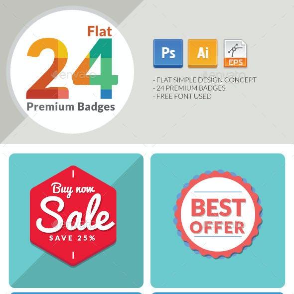 24 Flat Premium Badges