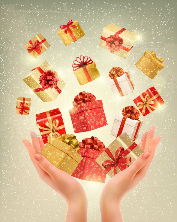 Christmas Gold Background with Gift Boxes - Christmas Seasons/Holidays