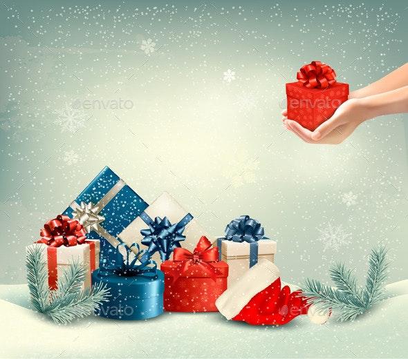 Christmas Winter Background with Presents - Christmas Seasons/Holidays