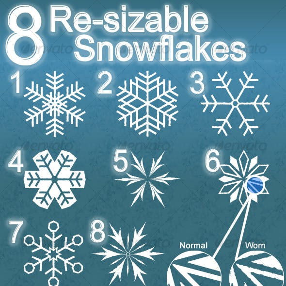 8 Re-sizable Snowflakes
