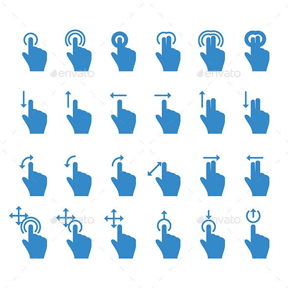 Hand Touch Icons - Computers Technology