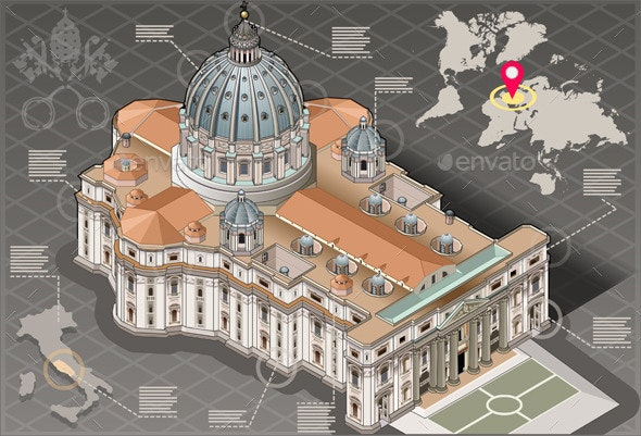 Isometric Infographic of Saint Peter of Vatican - Buildings Objects