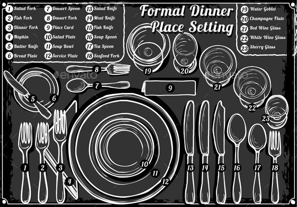 Vintage Hand Drawn Blackboard Place Setting Formal - Objects Vectors