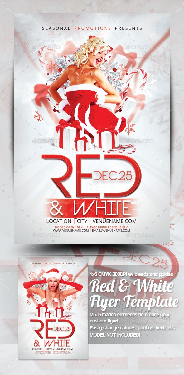 Christmas Party Flyer Template.Red White Christmas Party Flyer Template
