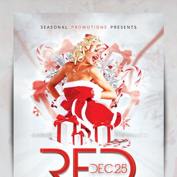 Red & White Christmas Party Flyer Template