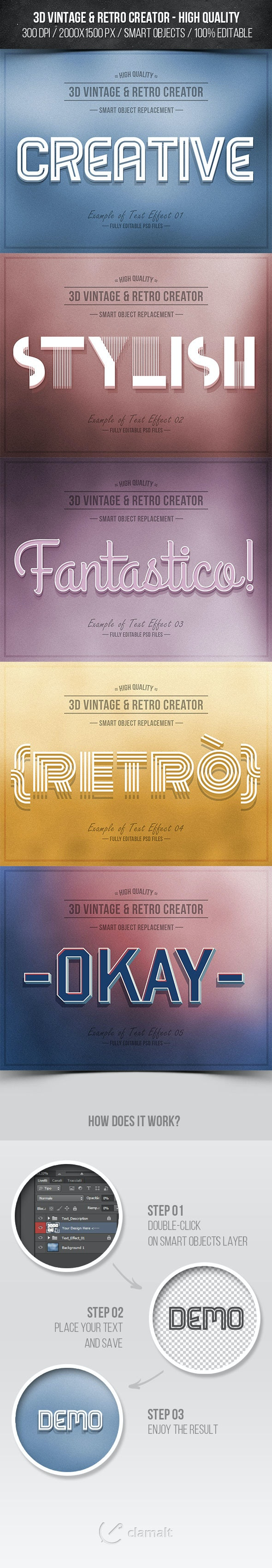 3D Vintage & Retro Creator - Text Effects Actions