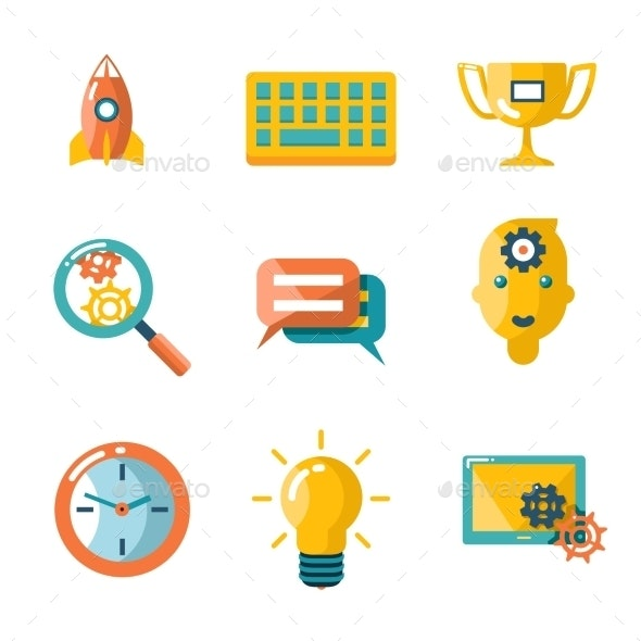 Flat Business Seo Social Media Marketing - Web Technology