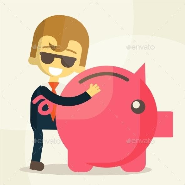 Business Man Save Money  - Business Conceptual
