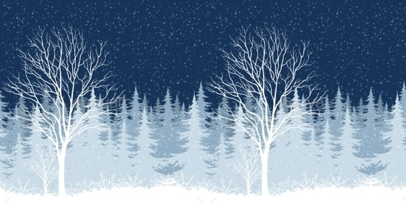 Winter Christmas Landscape with Tree - Landscapes Nature