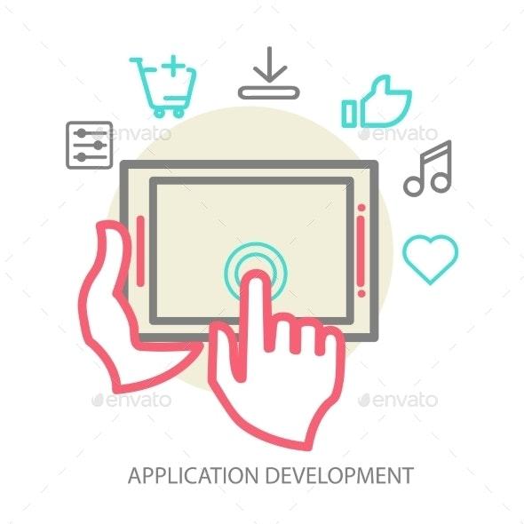 Vector Mobile App Development Concept - Web Technology