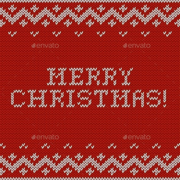 Card of Merry Christmas with Knitted Texture.