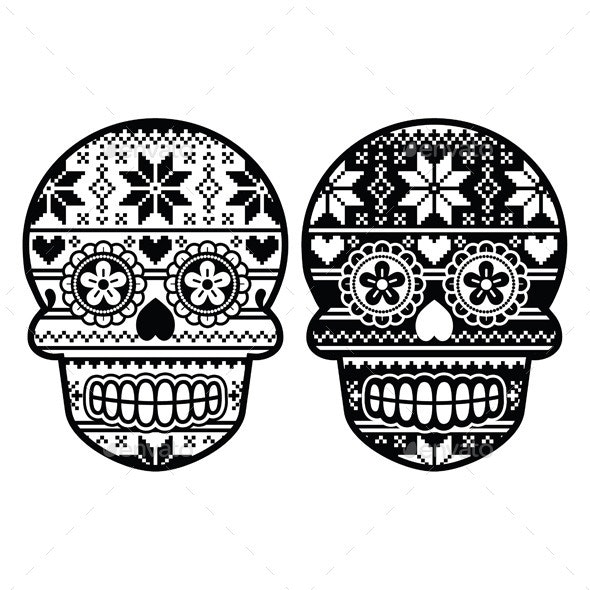 Mexican Black Sugar Skull with Winter Pattern - Patterns Decorative
