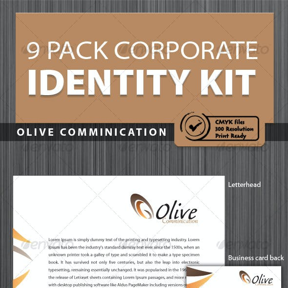 Olive 9 Pack Print Ready Corporate Identity