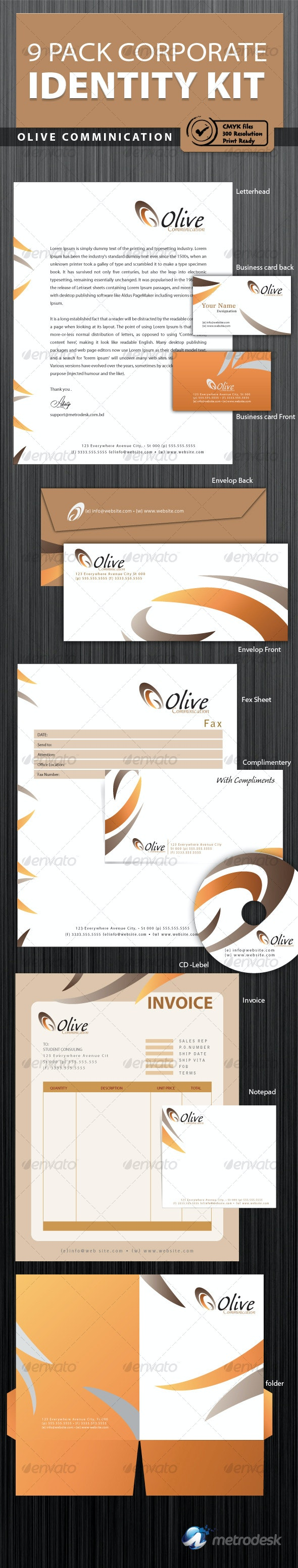Olive 9 Pack Print Ready Corporate Identity - Stationery Print Templates