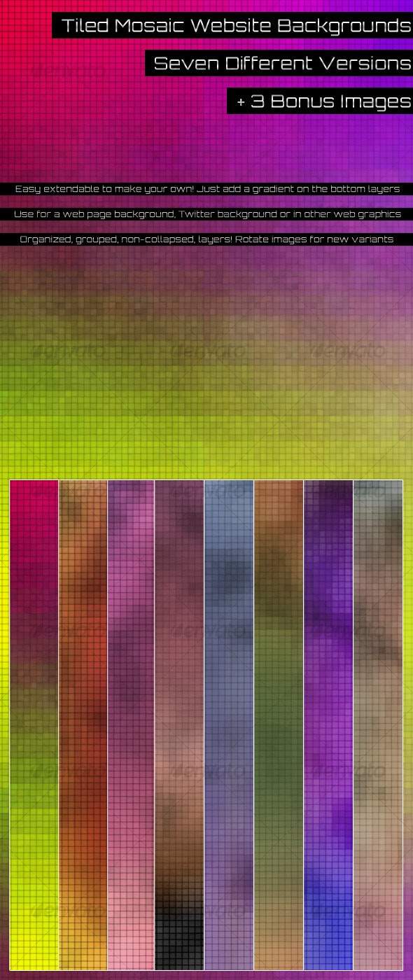 Tiled Mosaic Backgrounds - Abstract Backgrounds