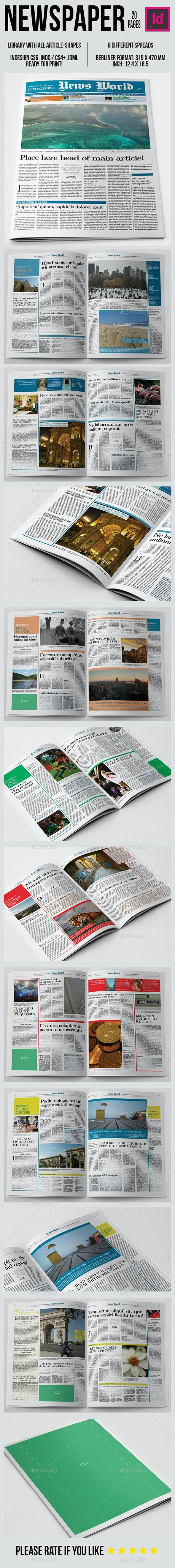 Berliner Newspaper Template 20 pages - Newsletters Print Templates