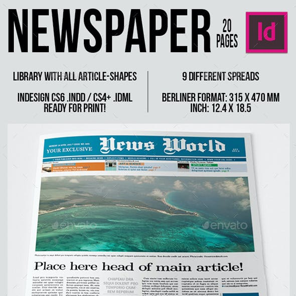 Berliner Newspaper Template 20 pages