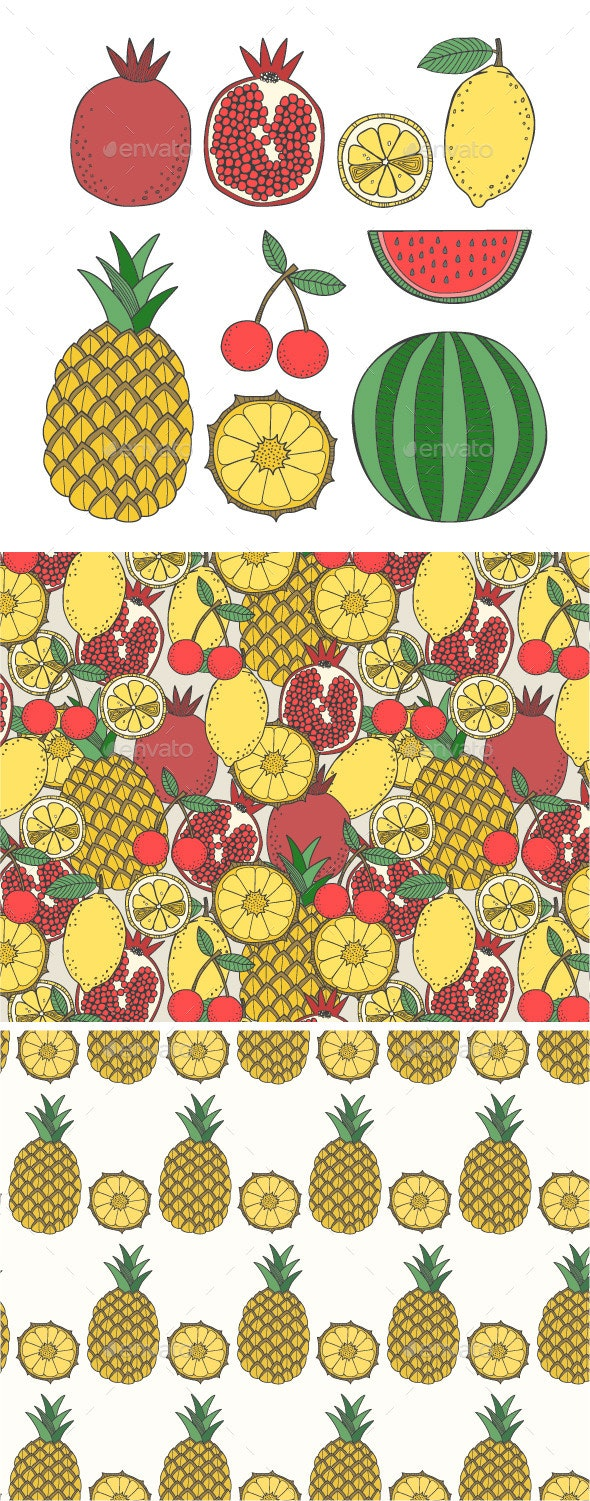 Set of Fruit and Seamless Fruit Patterns - Objects Vectors