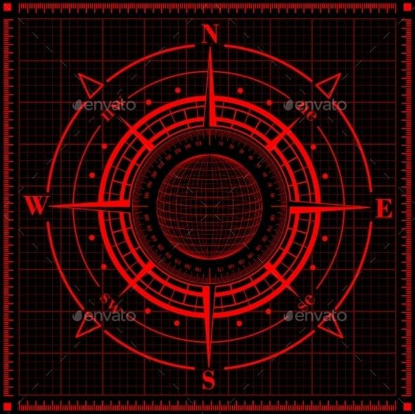Radar Compass Rose with Globe. - Technology Conceptual