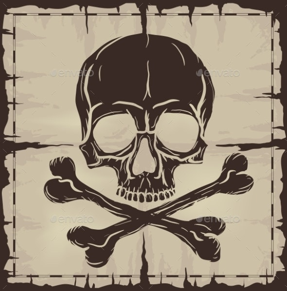 Skull and Crossbones over Old Damaged Map - Backgrounds Decorative