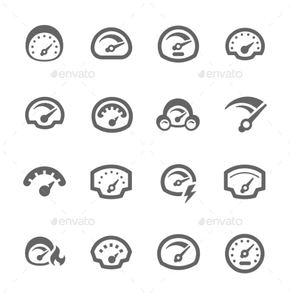Speedometer Icons - Man-made objects Objects