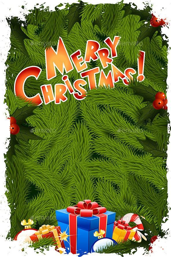 Grungy Merry Christmas Greeting Card - Christmas Seasons/Holidays