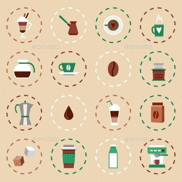 Coffee Flat Icons Set - Food Objects
