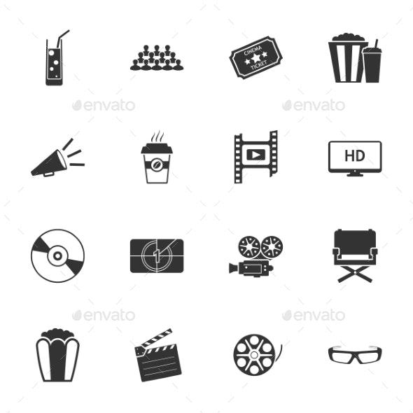Cinema Black and White Flat Icons Set - Web Technology