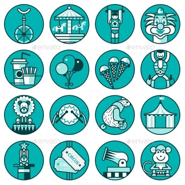 Circus Icons Set Line - Web Elements Vectors