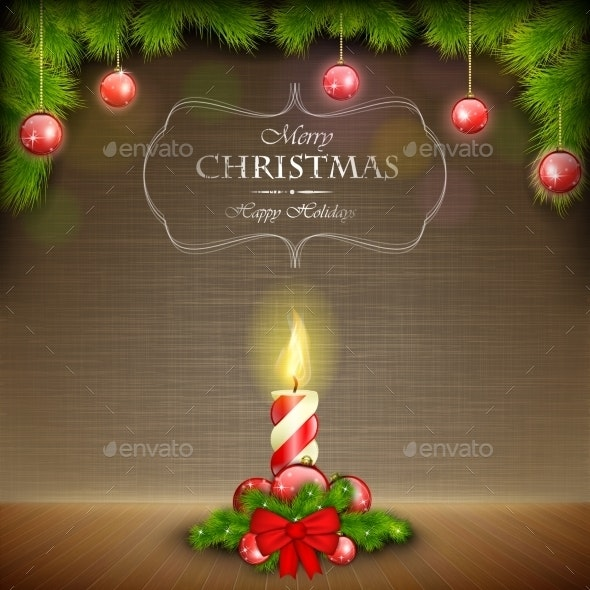 Christmas Candle on Scratched Background - Christmas Seasons/Holidays